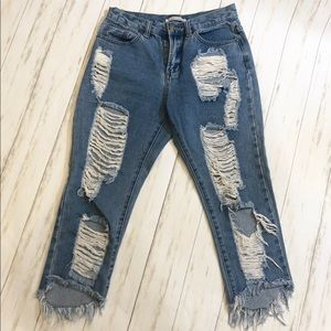 AMERICAN BAZI   Frayed Ankle Distressed Jeans S